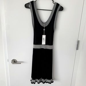 McQueen black and white knit dress with frills